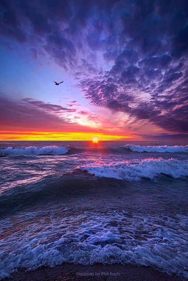 Sunrise on Lake Michigan in Wisconsin.  #peace #sunrise #beautiful #Nature  #water scape #water #seascape