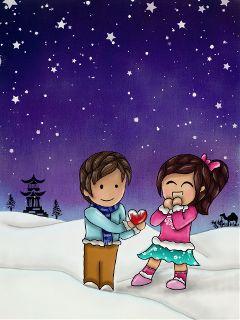 cute love winter colorful snow