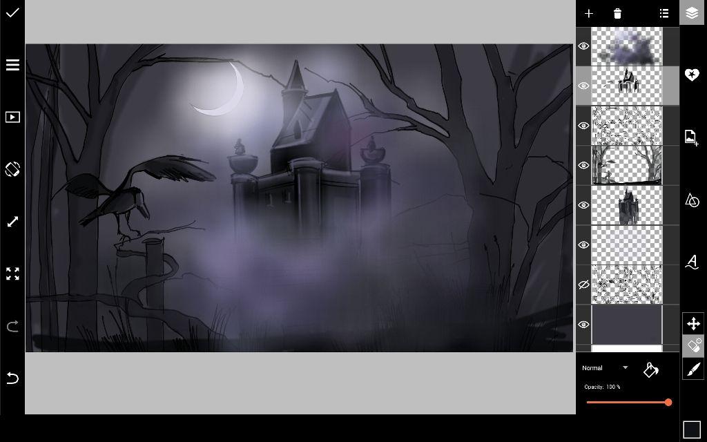 draw spooky halloween building details