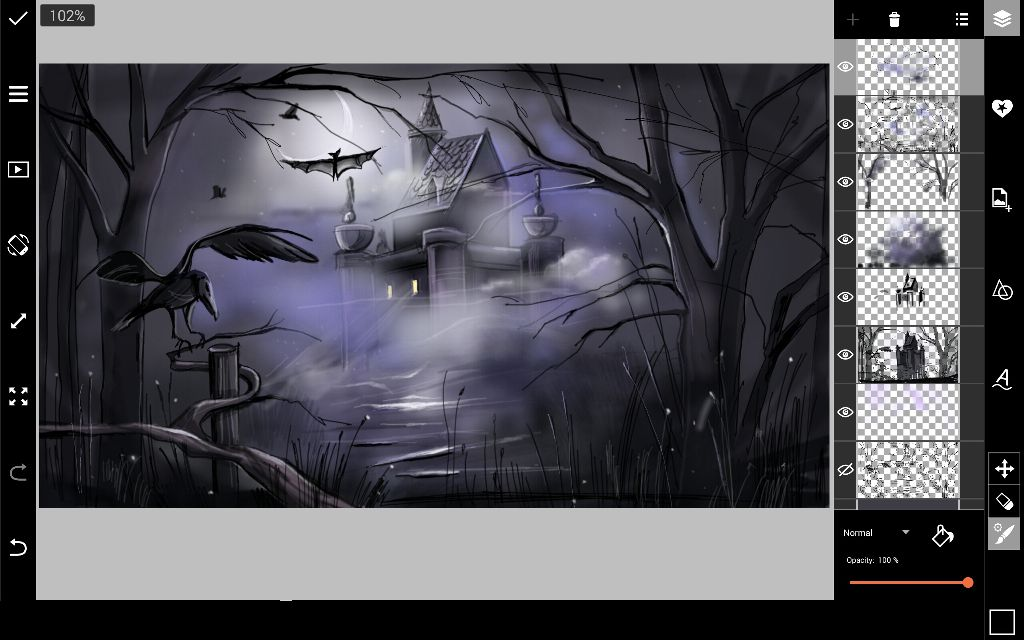 flecks of lights in halloween drawing