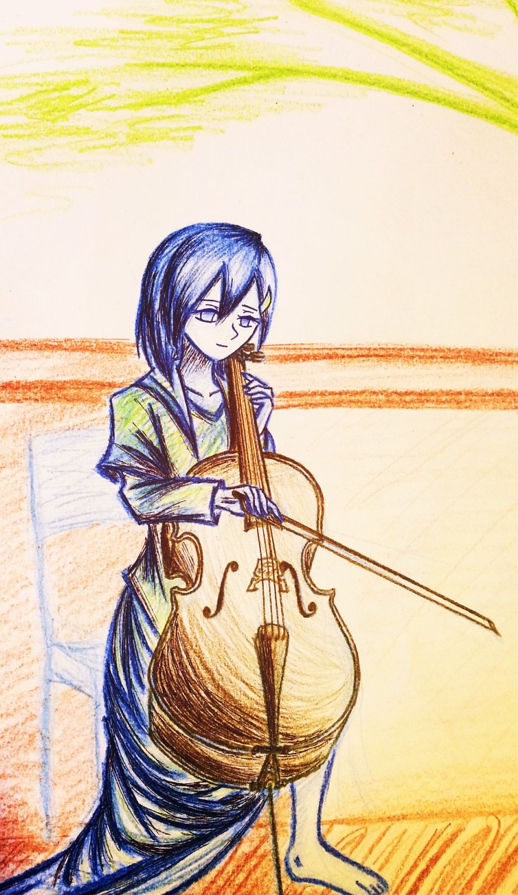 Girl with Cello Sorry i'm busy with school for the month :l . #colorful #emotions #pencilart #music #summer #vintage #retro #drawing #cello #original  #design