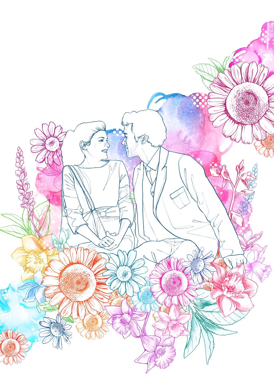 #illust #illustration #draw #drawing #pencil #sketch #watercolor #flower #movie #michelgondry #audreytautou #romainduris #moodindigo