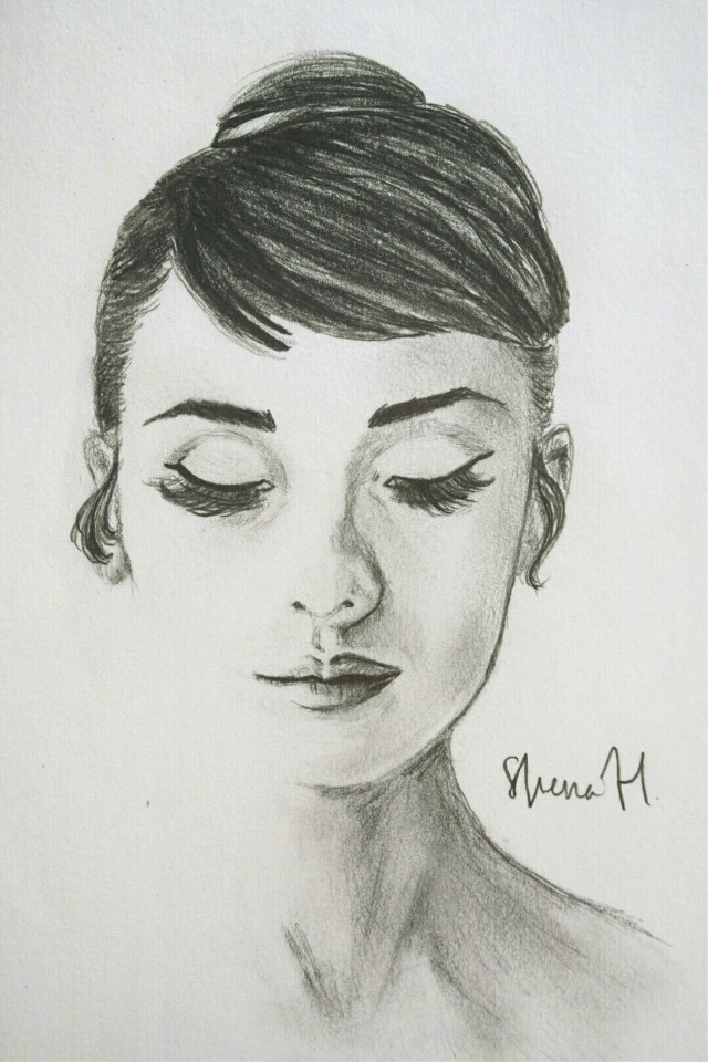 Audrey Hepburn ~ 🐦 One of my portrait sketches. Looks like her, but somehow doesn't, haha. What do you think?   #drawn #portrait #audreyhepburn #pencil #paper #blackandwhite #freetoedit #drawing