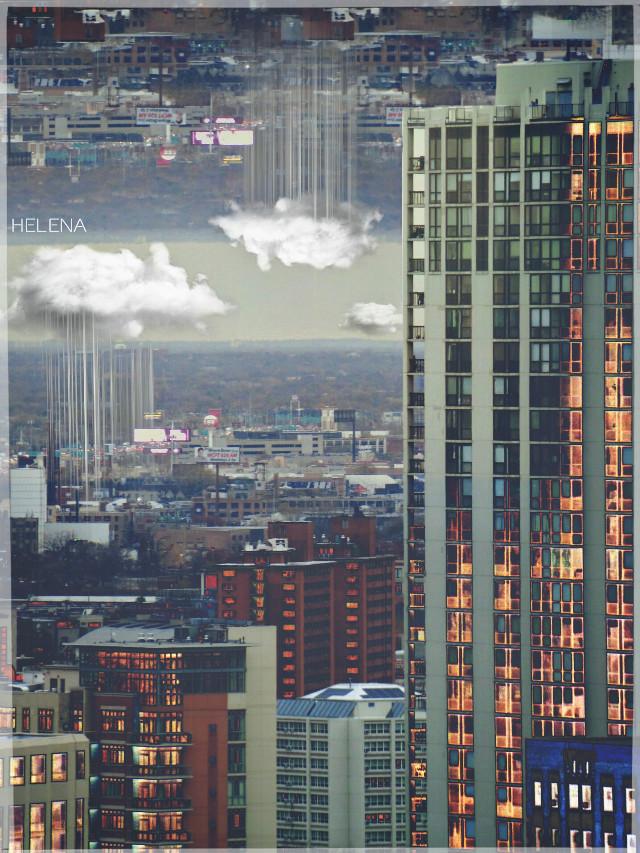 Urban Sky #urban #chicago #cityscape #upsidedown #edited #surreal #colorful