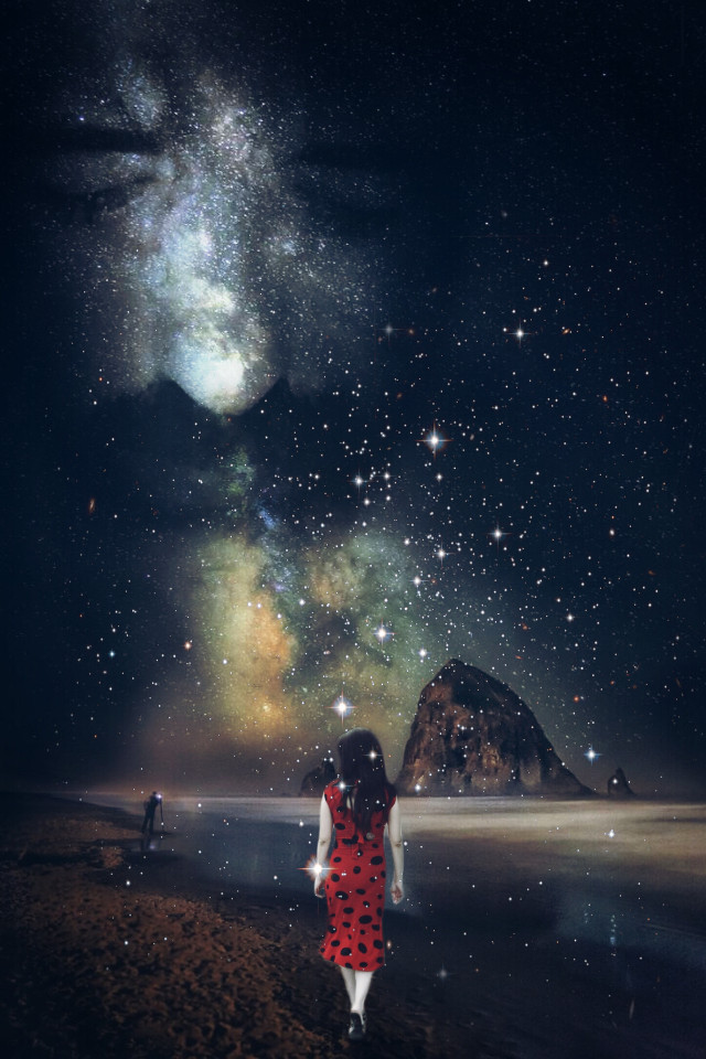 Freetoedit original pic from my dear friend @natahell Girl in red my youngest sister, hope you like it my dear Natahell! 😃😉😚 #illusion #doubleexposure #stars #undefined  #shootingstars