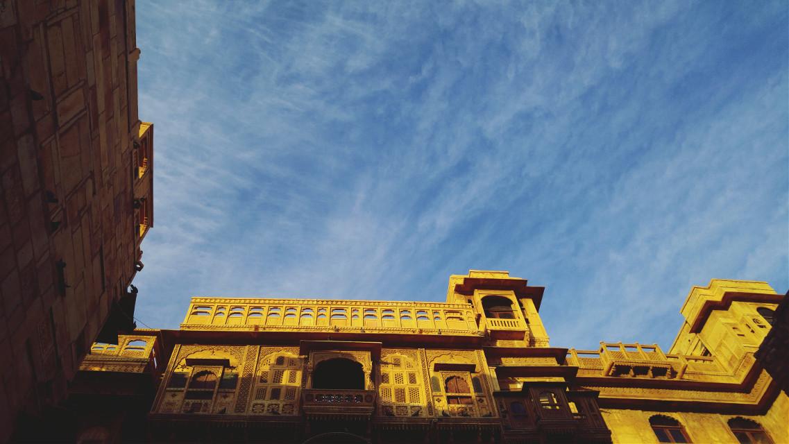 #blue #fort #sky #clouds #jaisalmer #beautiful #sandstone #pretty