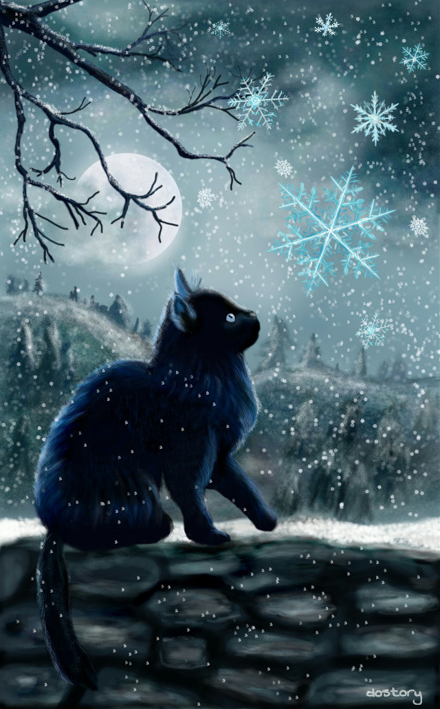 My second entry for the Weekly Drawing Project #wdpSnowflake My black cat in the moonlight is back :-)  #drawing #digitaldrawing #snowflake #winter #snow #cat  🔸first place🔸 thank you all for your likes, reposts and for your wonderful compliments. Thanks a million for your votes ❤❤❤
