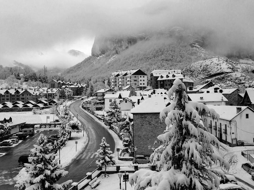 #winter #snow #mountain #blackandwhite #town #biutiful #clouds #picsart #road #frozen #konradrock