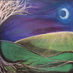 handpainted myart moon tree