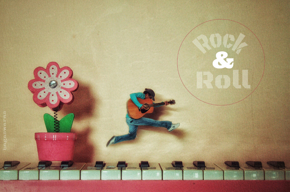Rock & Roll  #popart #freetoedit #bagasswing #music #dots