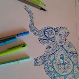 zentangle blue elepant animals elephant