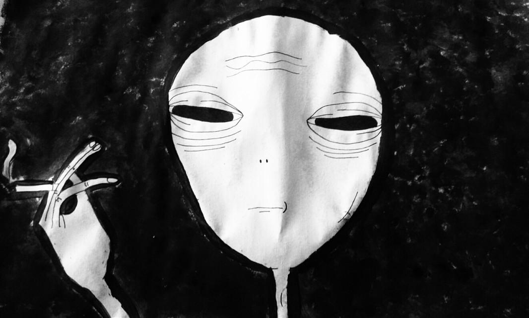 👽 #alien #smoke  #blackandwhite  #grunge
