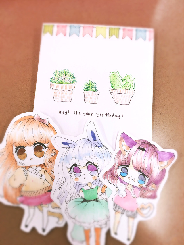 """I made this for a friend's birthday! I hope she likes it qAq""""  (She looks like the one on the left)  #traditional #chibi #plants #birthday"""