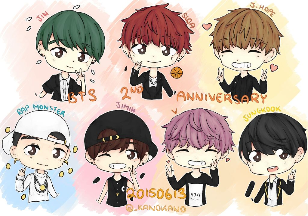 Omggg Bts Combined With Chibi So Cuteee Anime Chi