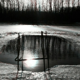 spring snow swimmingpool holga