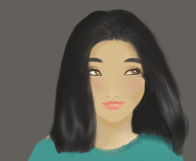 Another drawing I did of an Asian girl #draw #drawing #digitalart #colorful #people #cute #retro