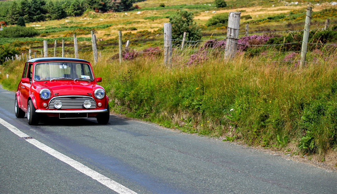 Little Red Classic Roaring On Country Roads In Ireland #cars #colorful  #mini  #copper  #red #style #Ireland  #car #wallpaper   @pa