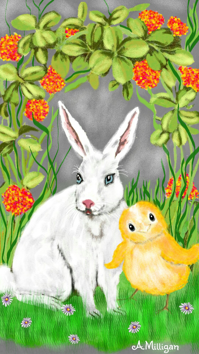 #wdpbunny My second entry for bunny😊🐰🐇   #colorful #colorsplash #flower #cute #nature #petsandanimals #spring  # rabbit  #bird  #draw.😊 ❤ 💚