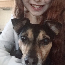 me girl selfie dog pet