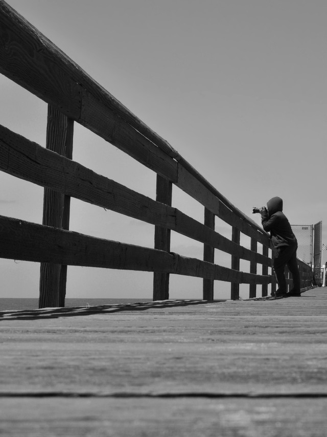 #people #beach #pier #lowangle #blackandwhite #photography