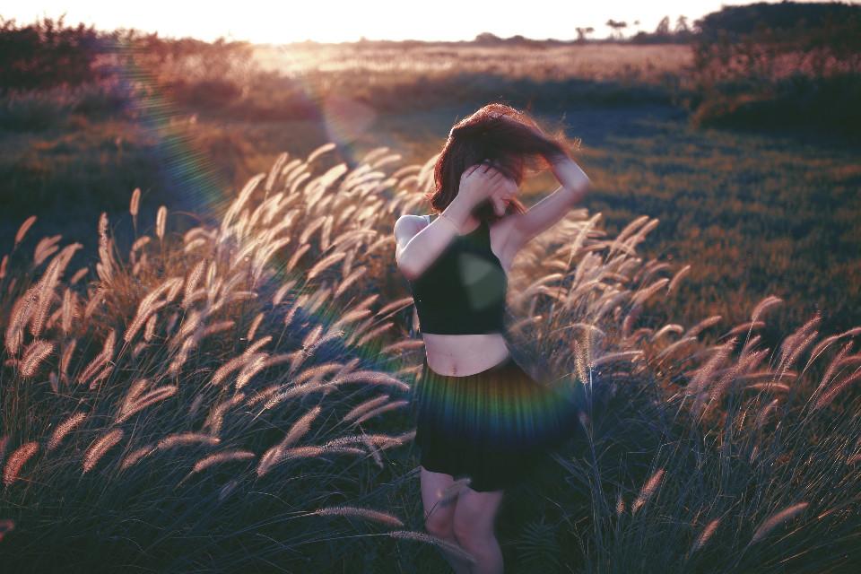 edited #lensflare #nature #girl #motion #dance #sunny original by @freetoedit