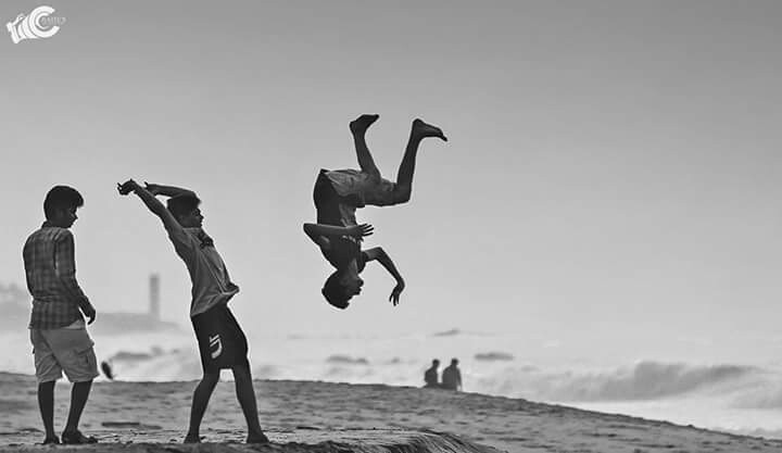 PC:- Chaitu Battle IN FRAME :- children playing in the vizag sea shore. Happiness is a delicate balance of what one wants and one has. It's an inner joy that can be sought and caught but never taught and bought..😀😀