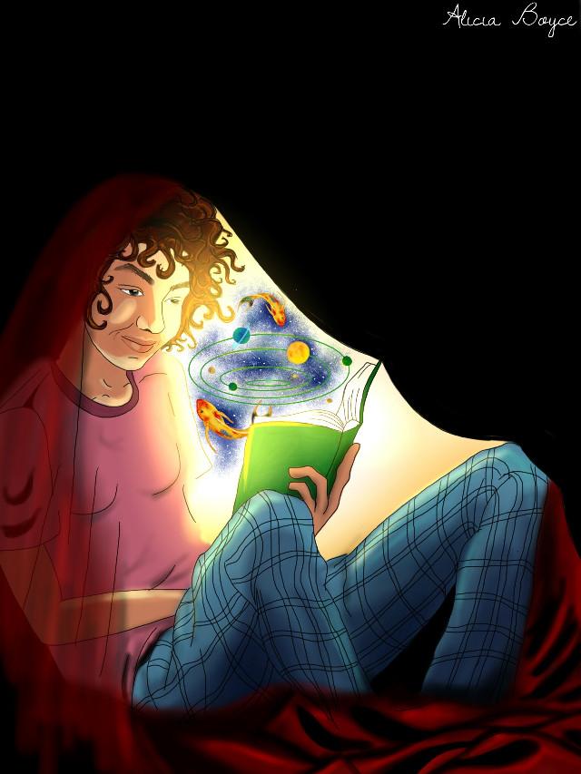 #wdptwilight #drawing #people #magic #books Reading in the night :)